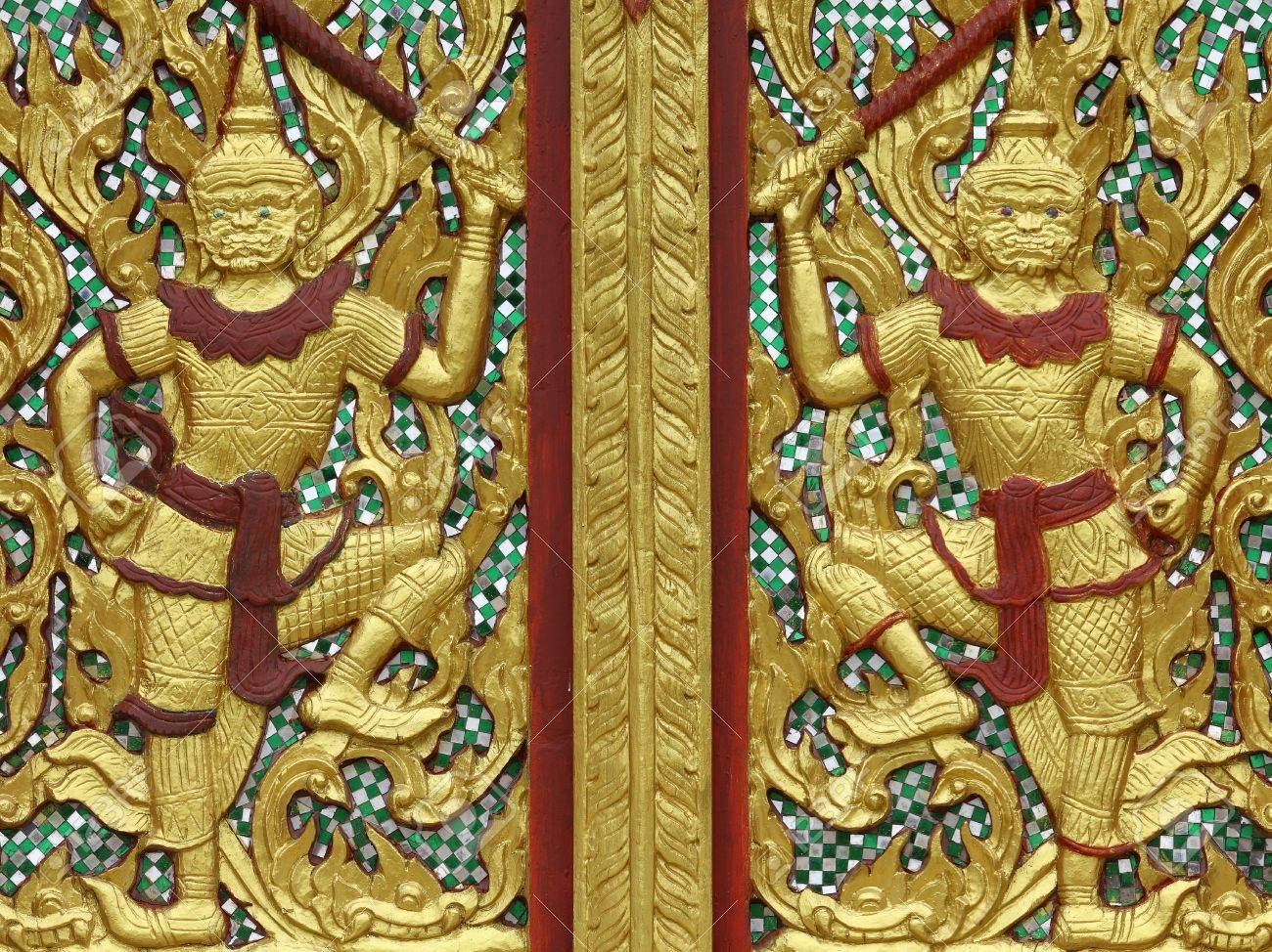 Demon Picture Carves Temple Thai Door In Thailand Sukhothai Stock ...