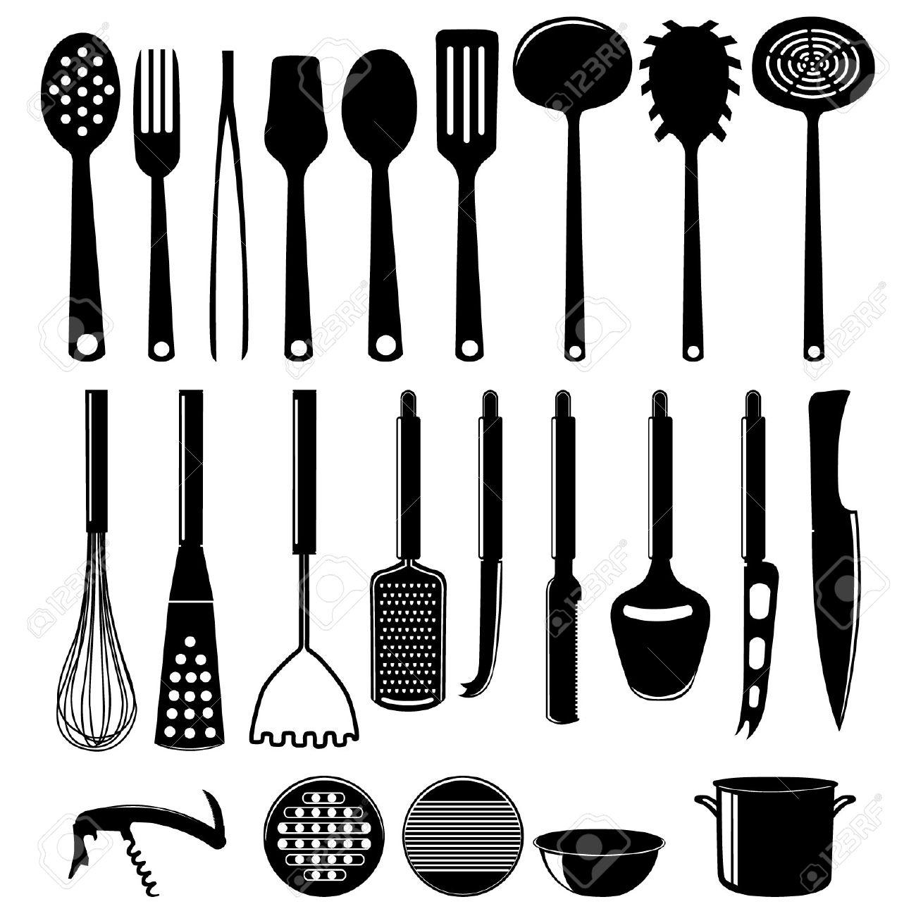 archivio fotografico icon utensili da cucina set isolato su bianco