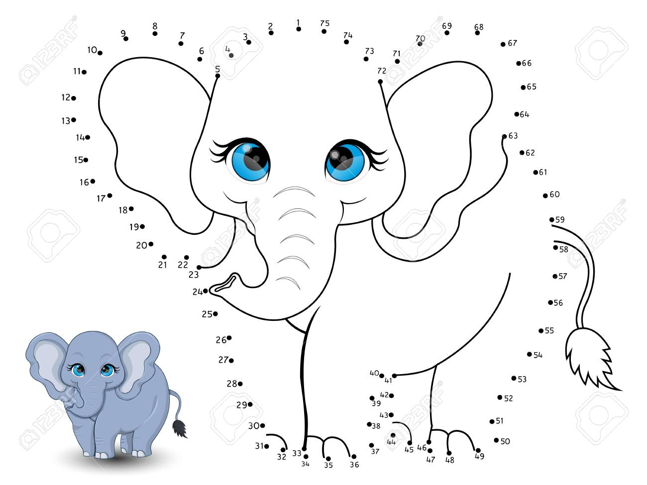 elephant connect the dots and color royalty free cliparts vectors