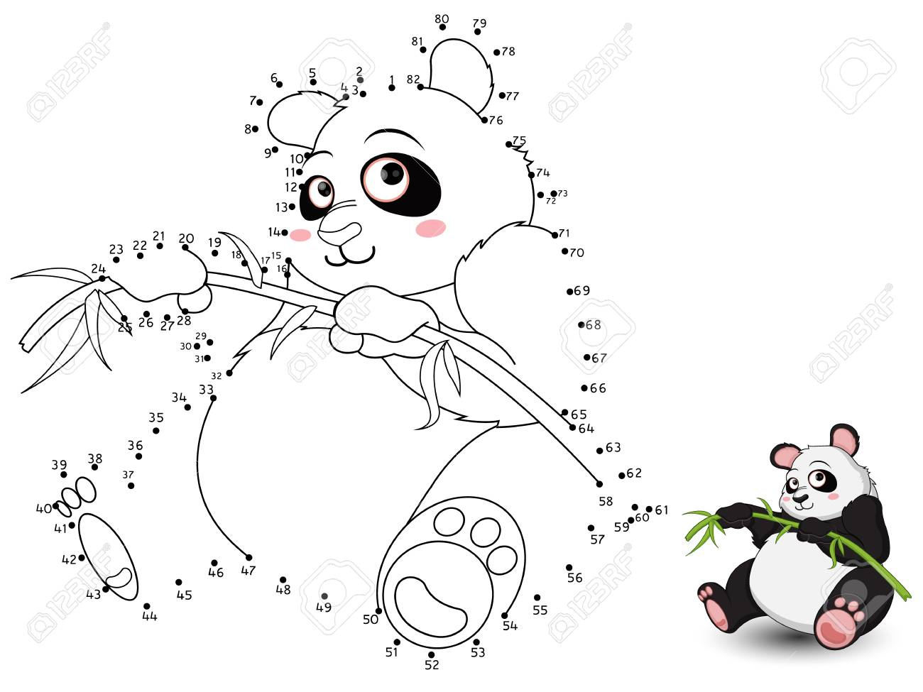 Panda Connect The Dots And Color Royalty Free Cliparts Vectors And