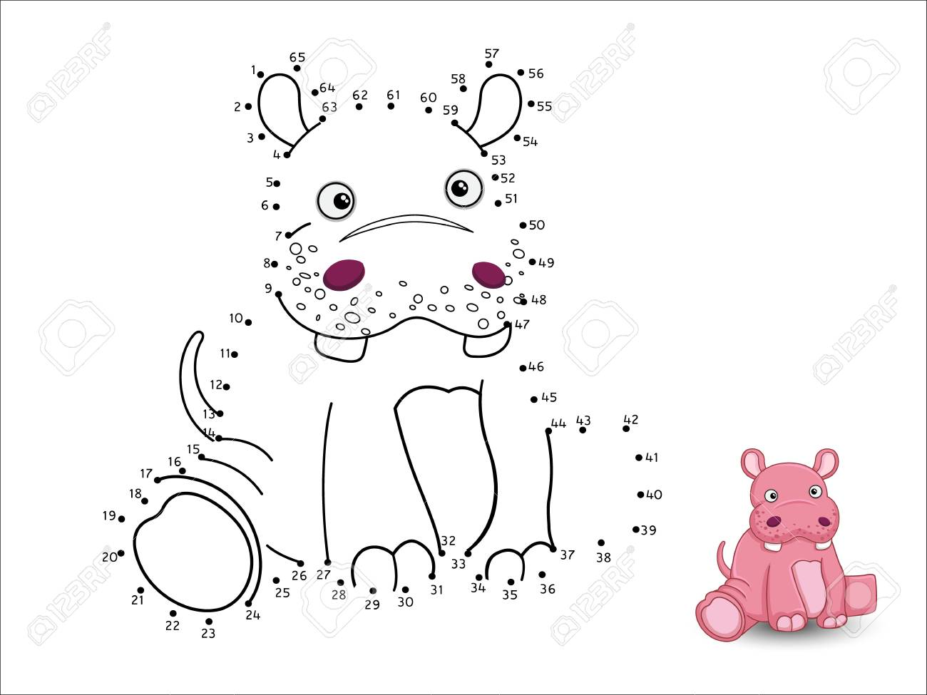 Hippo Cartoon Connect The Dots And Color Page Sheet Stock Vector