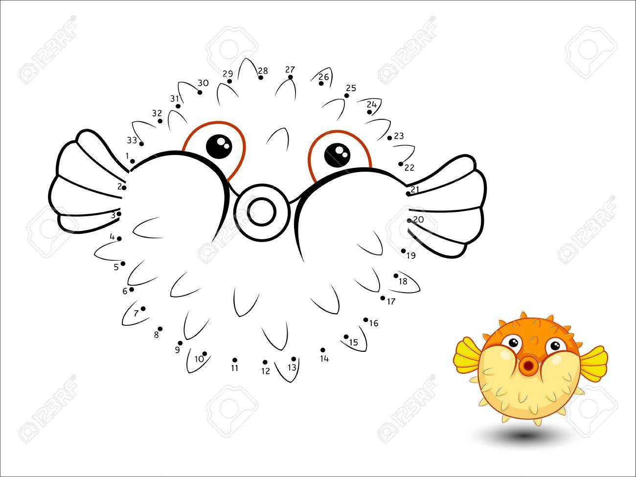 Puffer Fish Cartoon Connect The Dots And Color Page Sheet Royalty ...