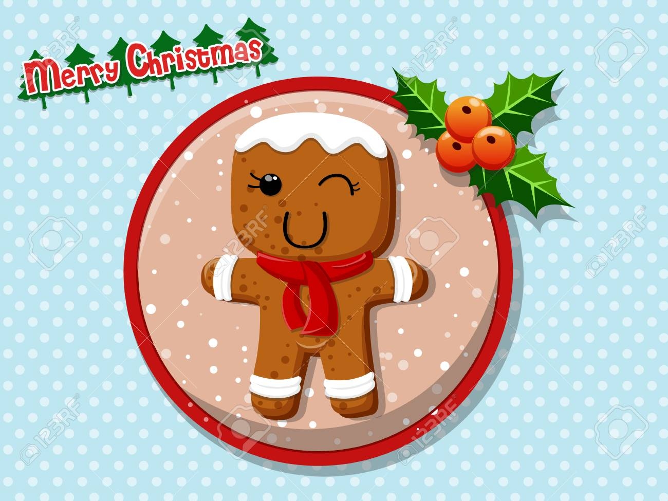 merry christmas cute cartoon gingerbread man cookies on a colorful background happy new year