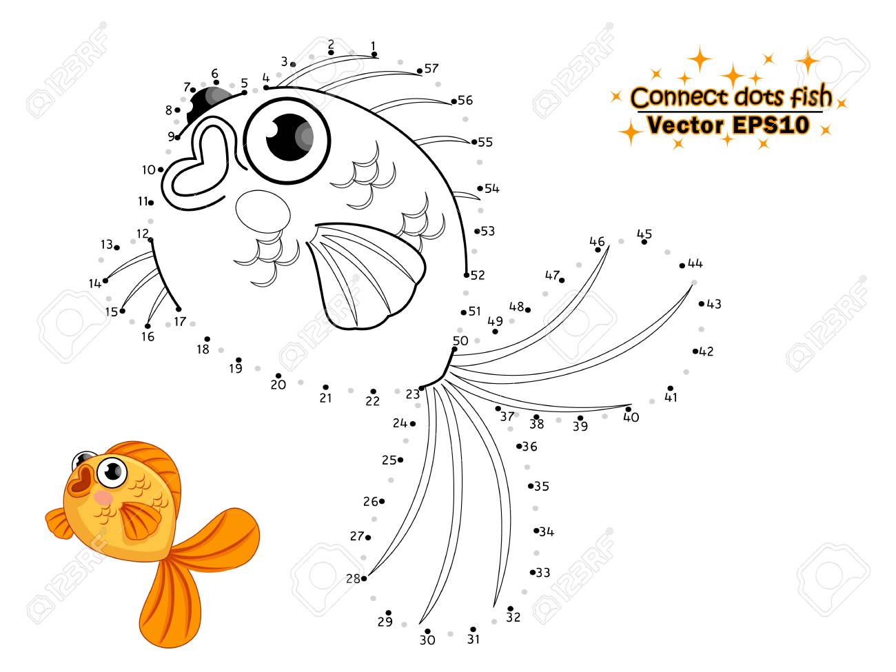 Connect the dots draw the cute cartoon fish and color for kids vector illustration