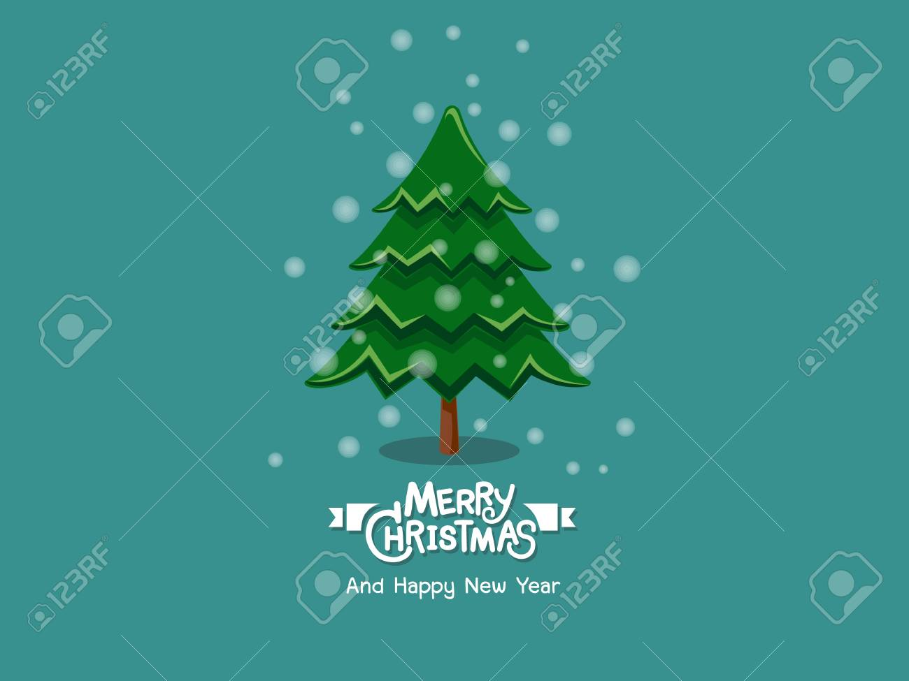 merry christmas and happy new year christmas tree for decorative element on holiday poster