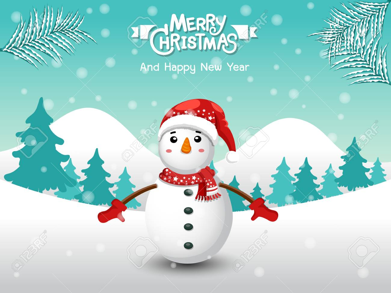 Christmas Scene.Merry Christmas Funny Snowman In Christmas Snow Scene Winter