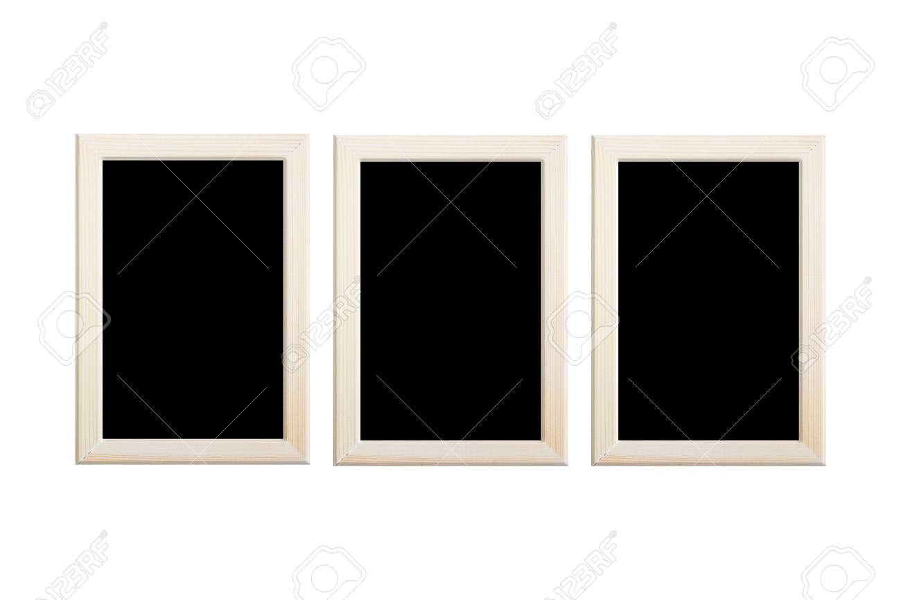 Collection empty black color photo wood frame isolated on white background, clipping path. - 165694634