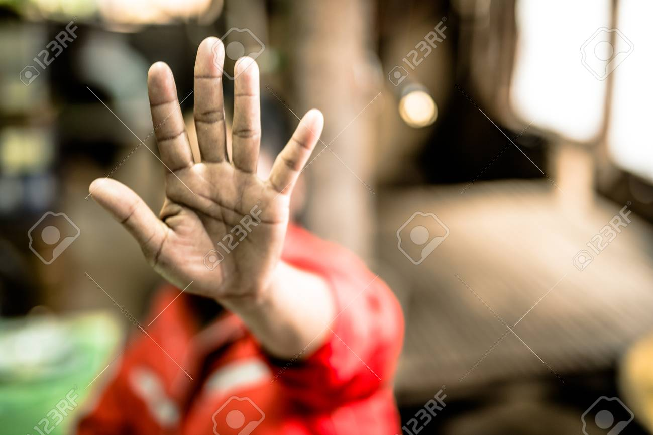 Stop abusing boy violence. child in angle image blur , Human Rights Day concept. - 72138417