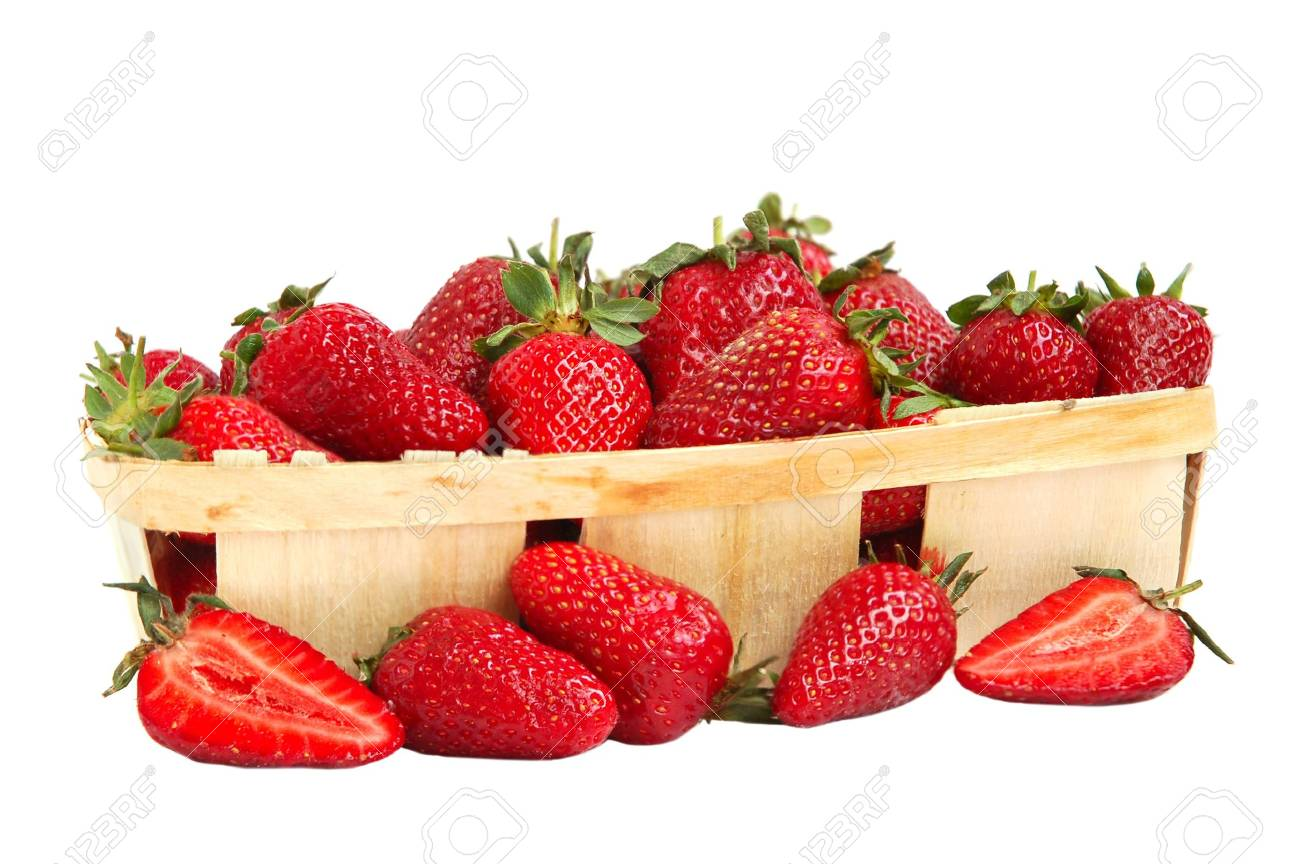 Ripe red strawberries in a basket Stock Photo - 3237838