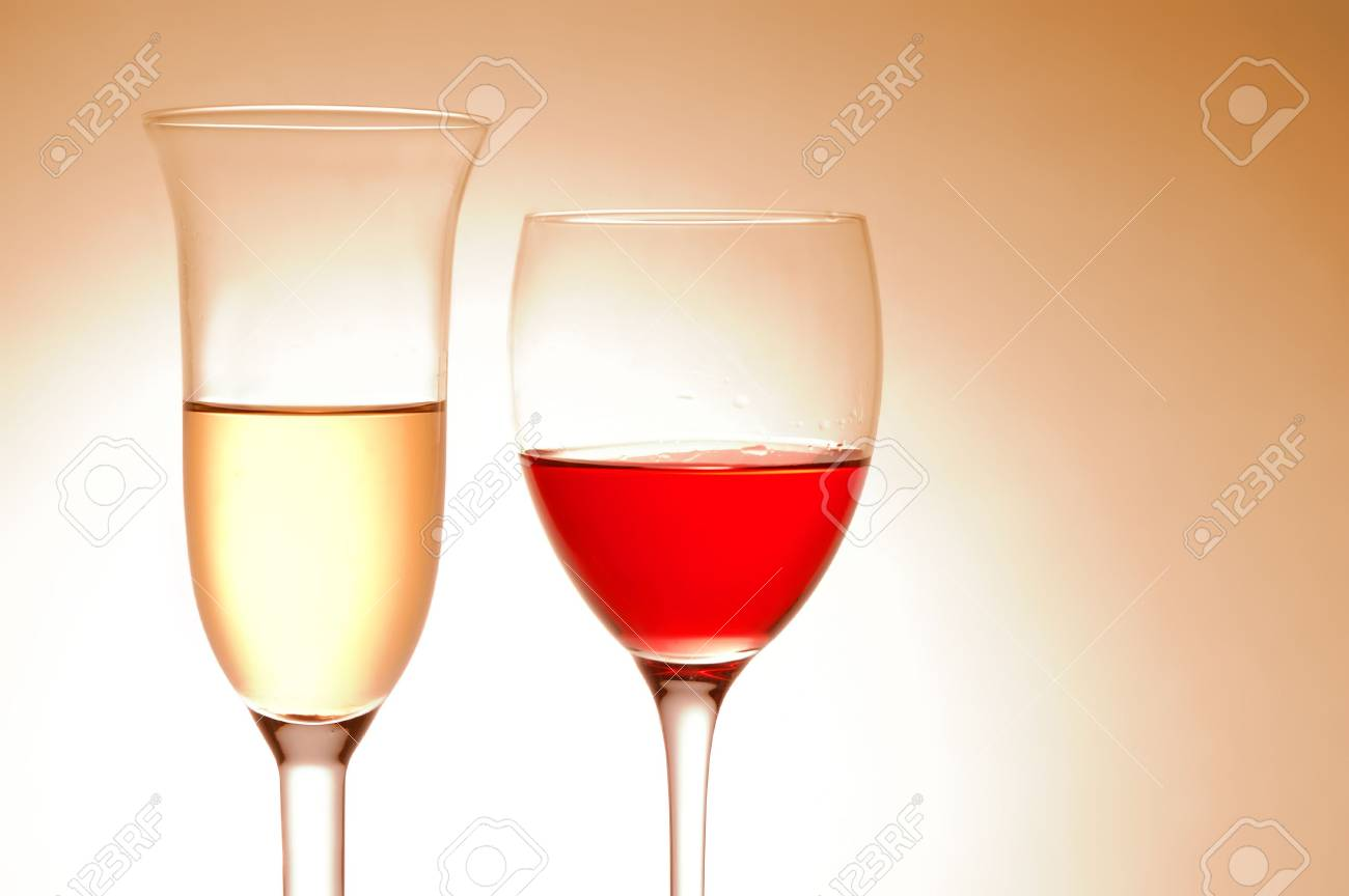 Various wine glasses on pink background Stock Photo - 4493155