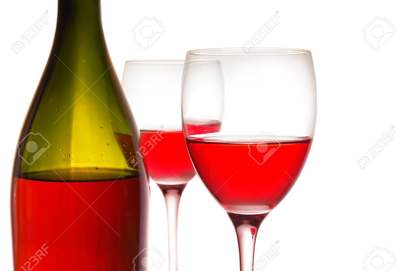Red wine and green bottle on white Stock Photo - 5148714