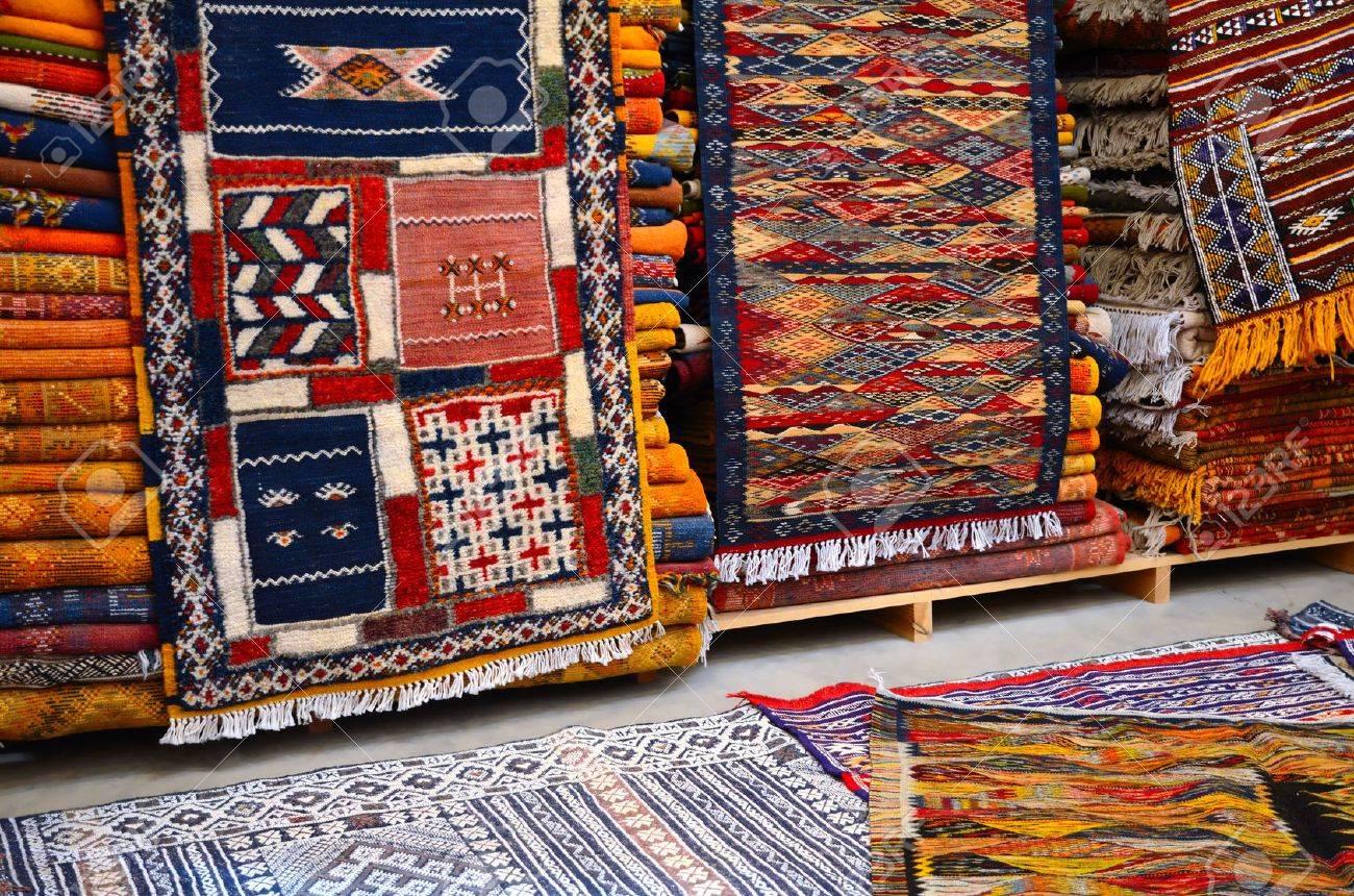 Tapis Marocain Traditionnel Dans Un Magasin De Berbère à Marrakech