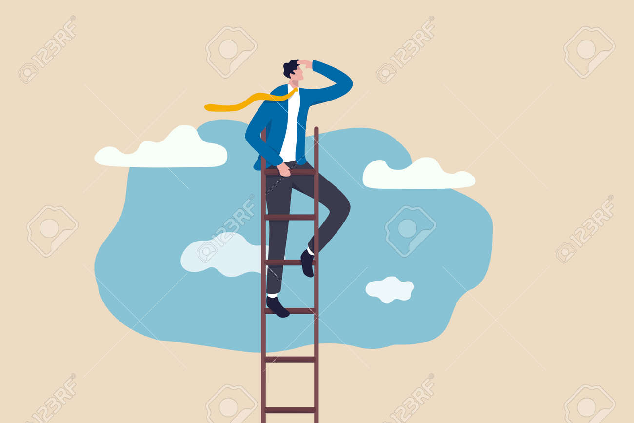 Ladder of success, vision to lead business to achieve goal or opportunity in career concept, smart confident businessman leader climb up to reach top of ladder high in the sky look forward to future. - 158391192