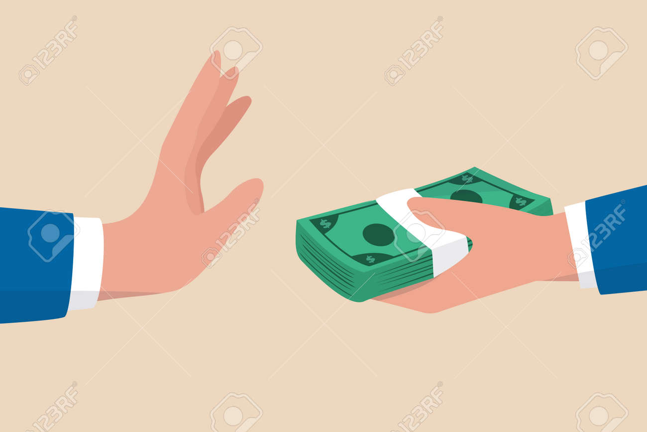 Stop Corruption, refusing to take bribery money concept, honest businessman hand refuse to take illegal money banknotes. - 162985853