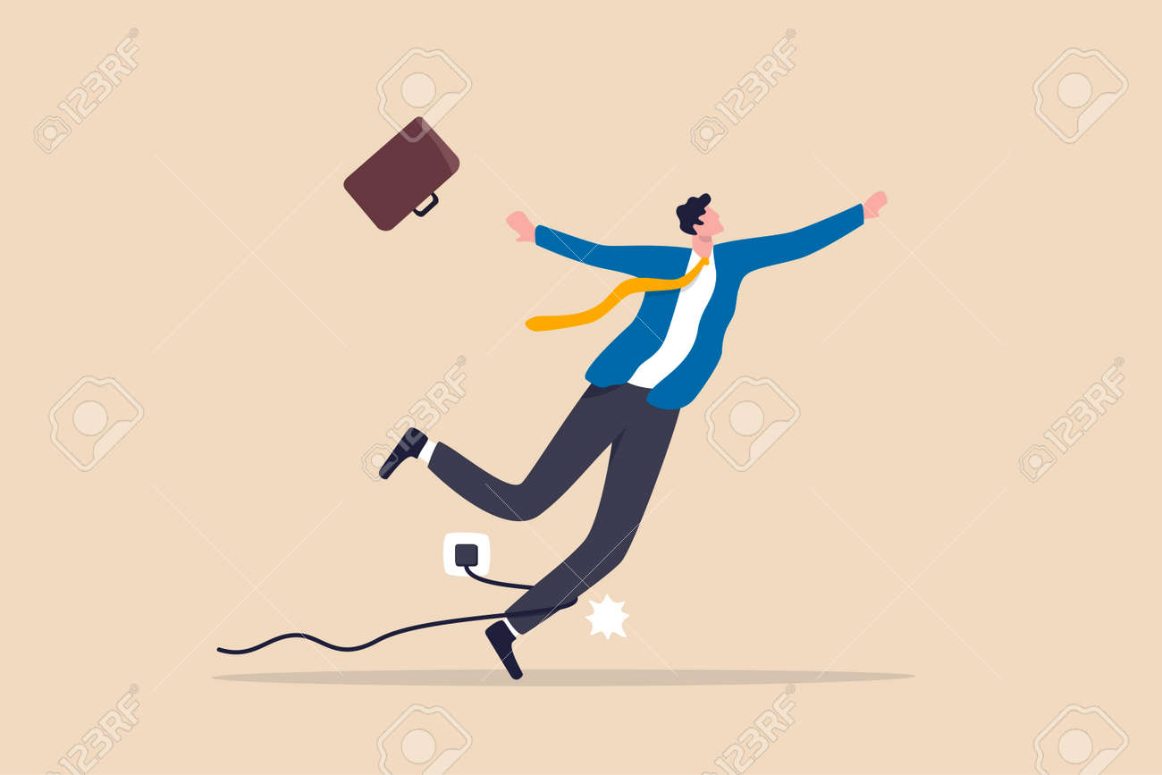 Failure or mistake. accident or surprise problem that impact business concept. clumsy businessman stumble with power cable electric plug falling on the floor. - 168987452