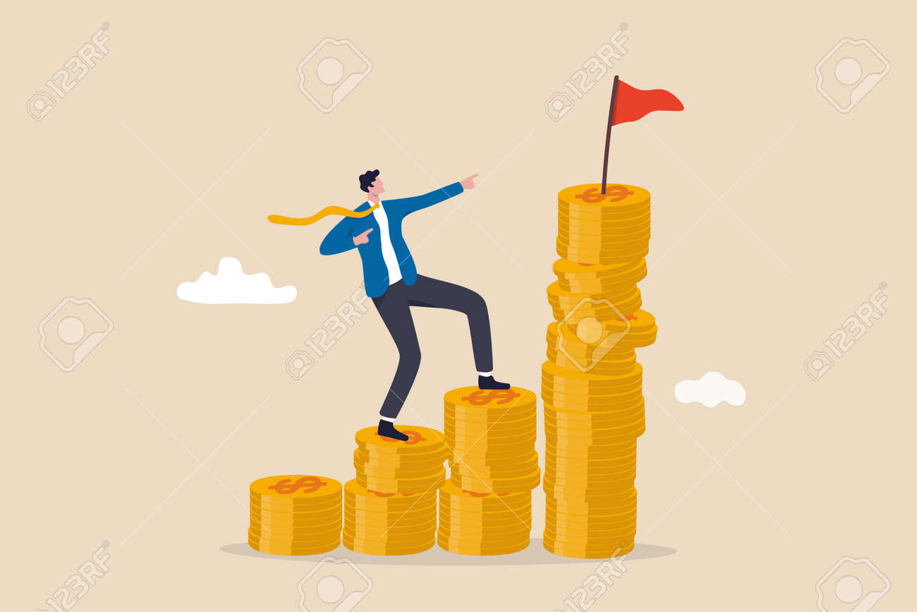 Financial goal, wealth management and investment plan to achieve target, income or salary growth concept, cheerful businessman step climbing money coin stack aiming to achieve target flag on top. - 169919606