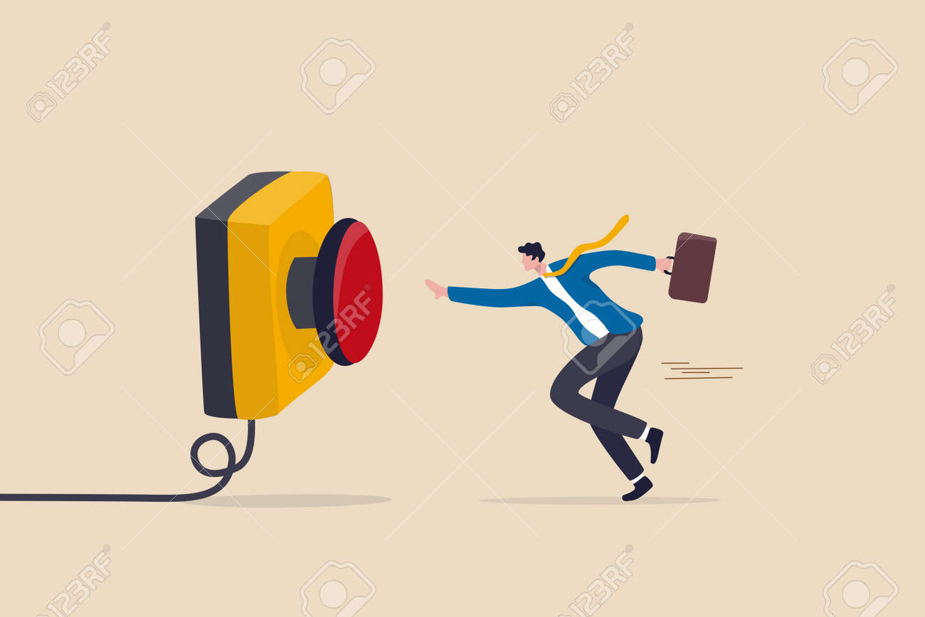 Push button call for emergency help, control or launch rocket, start new business or launch start up company concept, cautious businessman running in hurry to push red emergency button. - 169919609