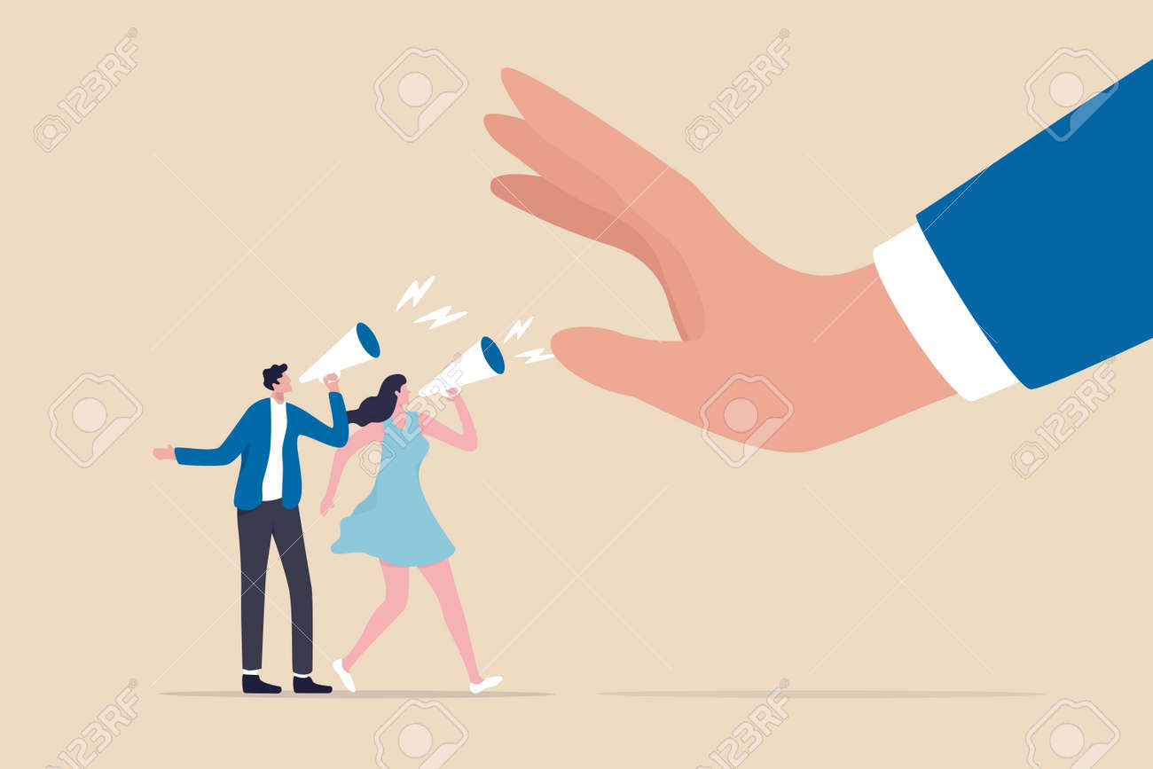 Freedom of speech, listen to employee opinion, work hierarchy boundary, censorship or inequality concept, company employee people shouting on megaphone to executive management big denied hand. - 169919616