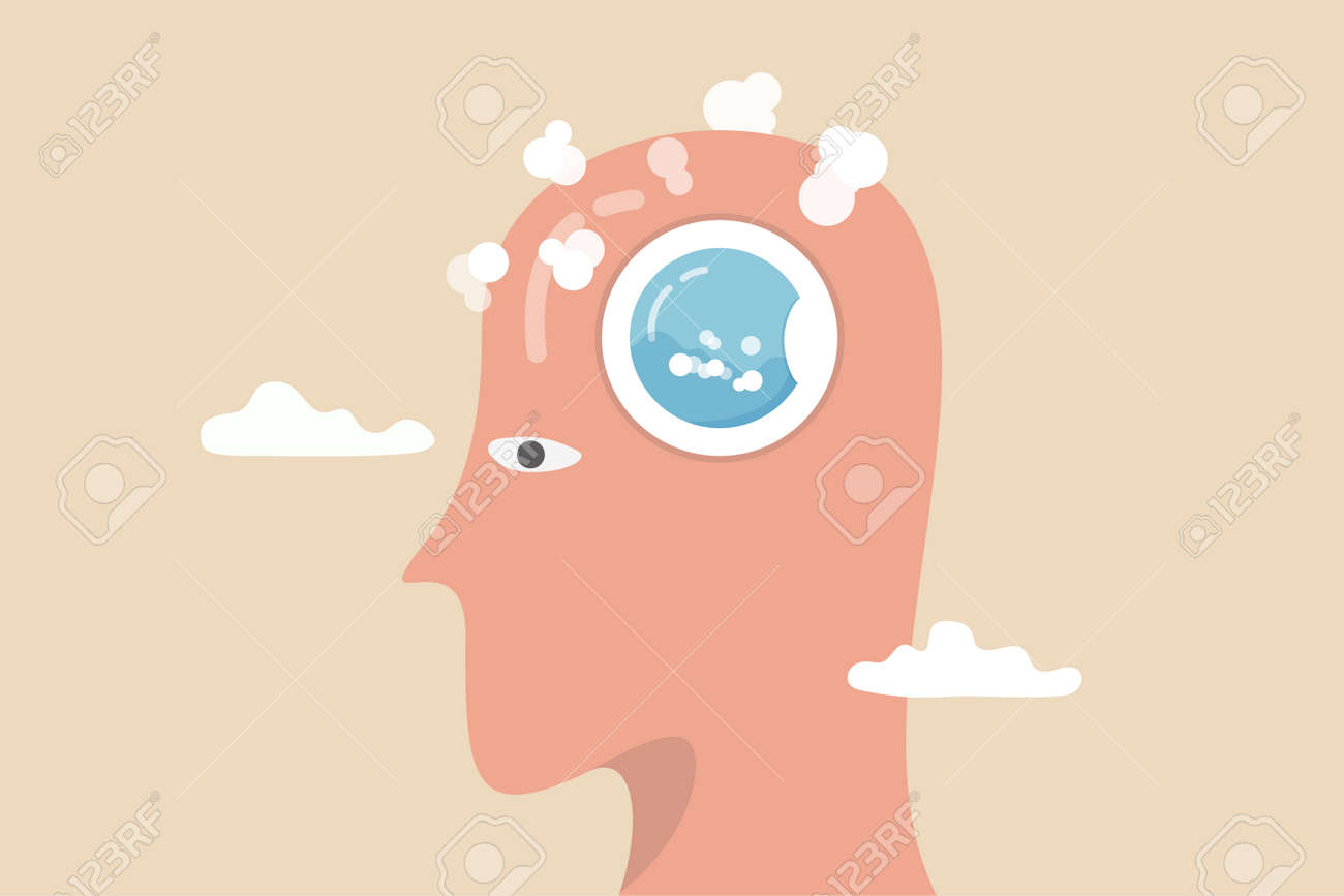 Brain wash by medias or advertising information, make someone to believe, manipulate thought, control how people think concept, human head with washing machine in action to clean his brain. - 169913337