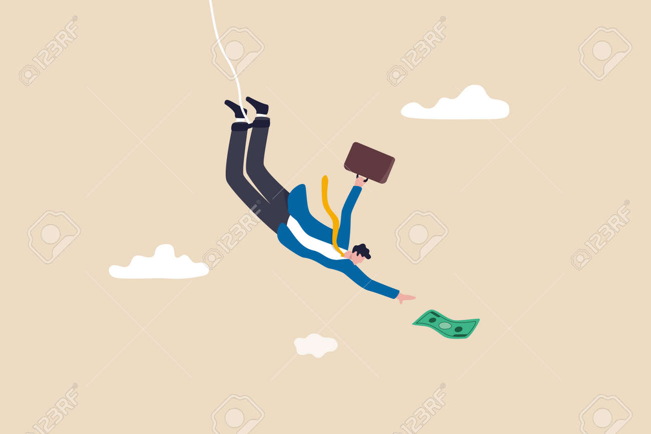 Investment risk, business challenge, adversity or take risk to earn more income, greed and fear in stock market downfall concept, skillful confident businessman bungee jumping to grab money banknote. - 169913367