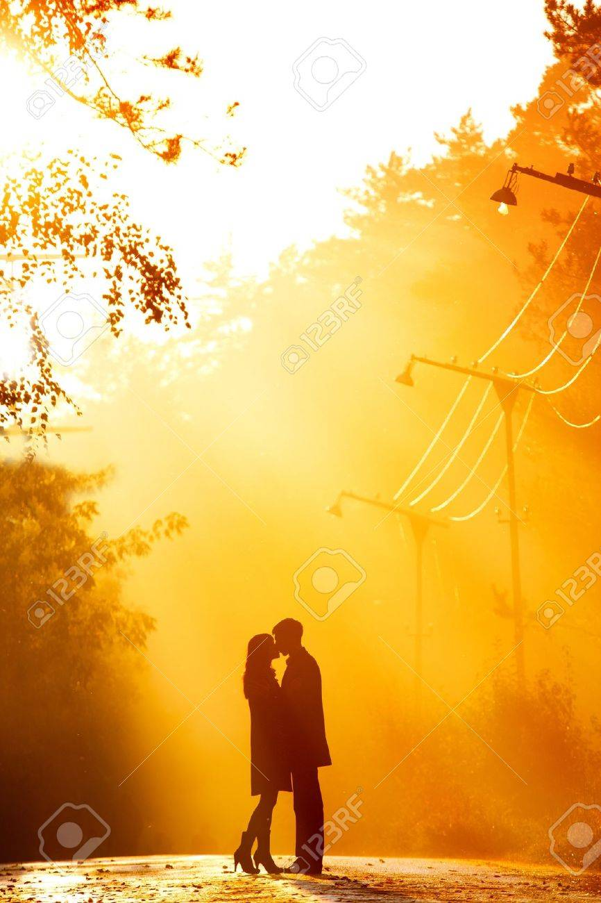 beautiful shot of kissing couple in the sunlight Stock Photo - 8577032