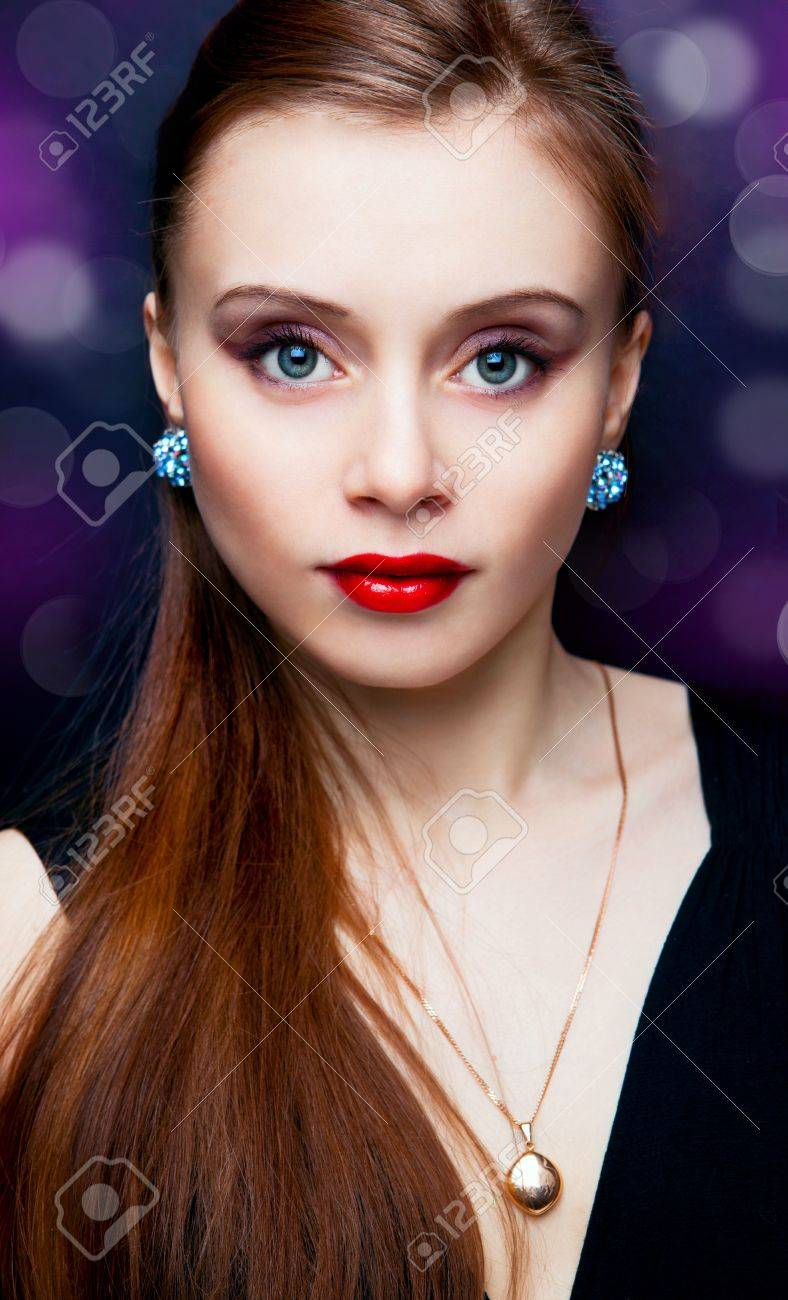 portrait of beautiful fashionable woman on dark background Stock Photo - 9620912
