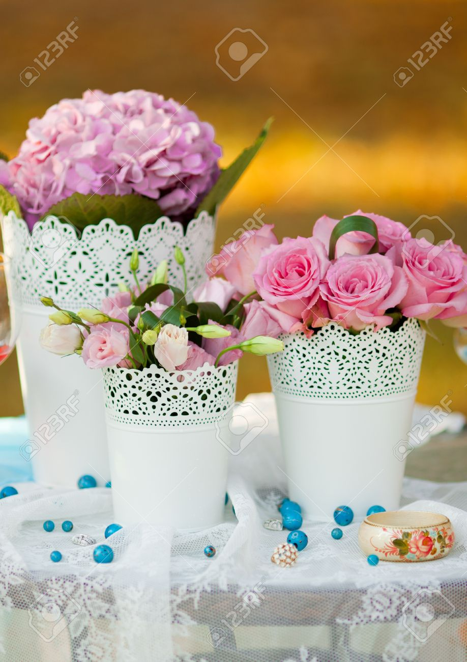 beautiful wedding table decorated with the flowers Stock Photo - 12382335