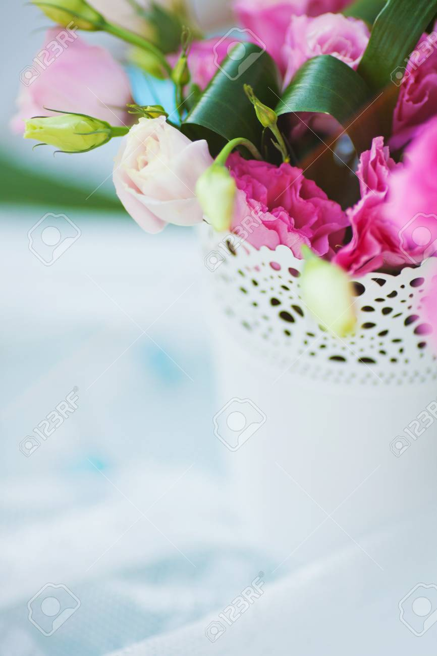 beautiful wedding table decorated with the flowers Stock Photo - 13164354