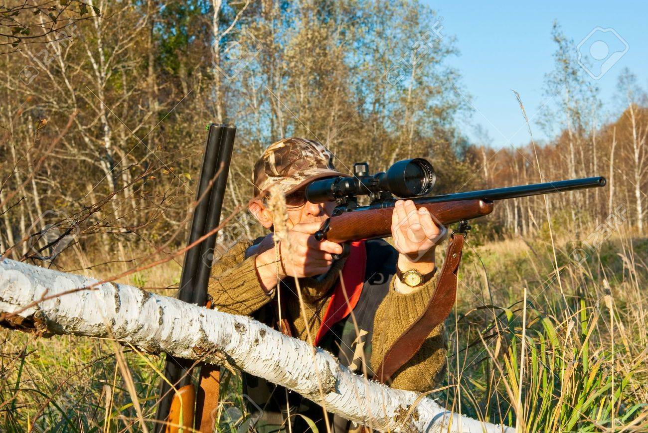 Hunter aiming animals with rifle near fallen birch Stock Photo - 7989078