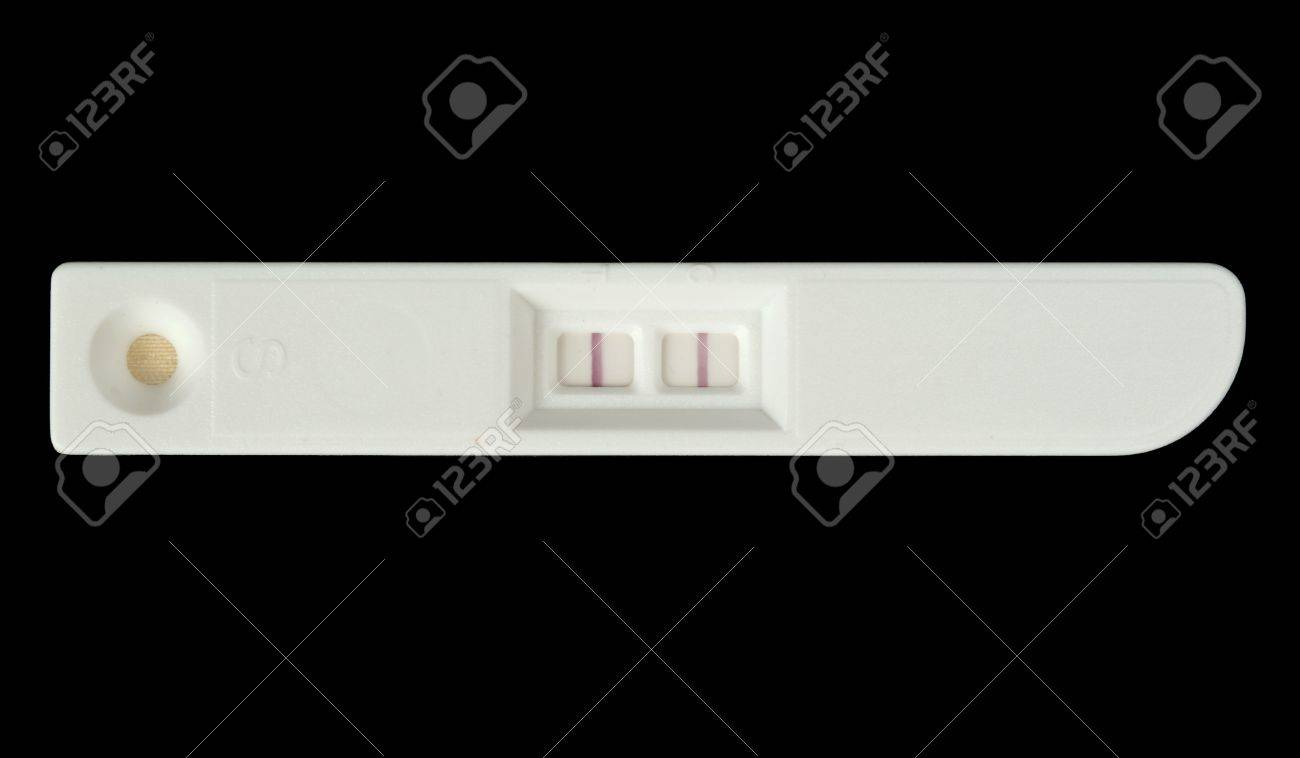 Positive pregnancy test isolated on black Stock Photo - 9161962