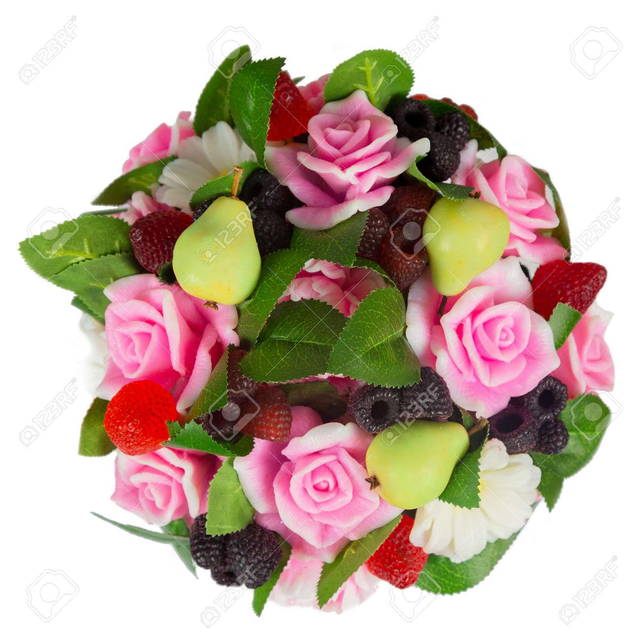 Handmade soap bouquet in form of flowers pears raspberries blackberries strawberries top view. - 171711536