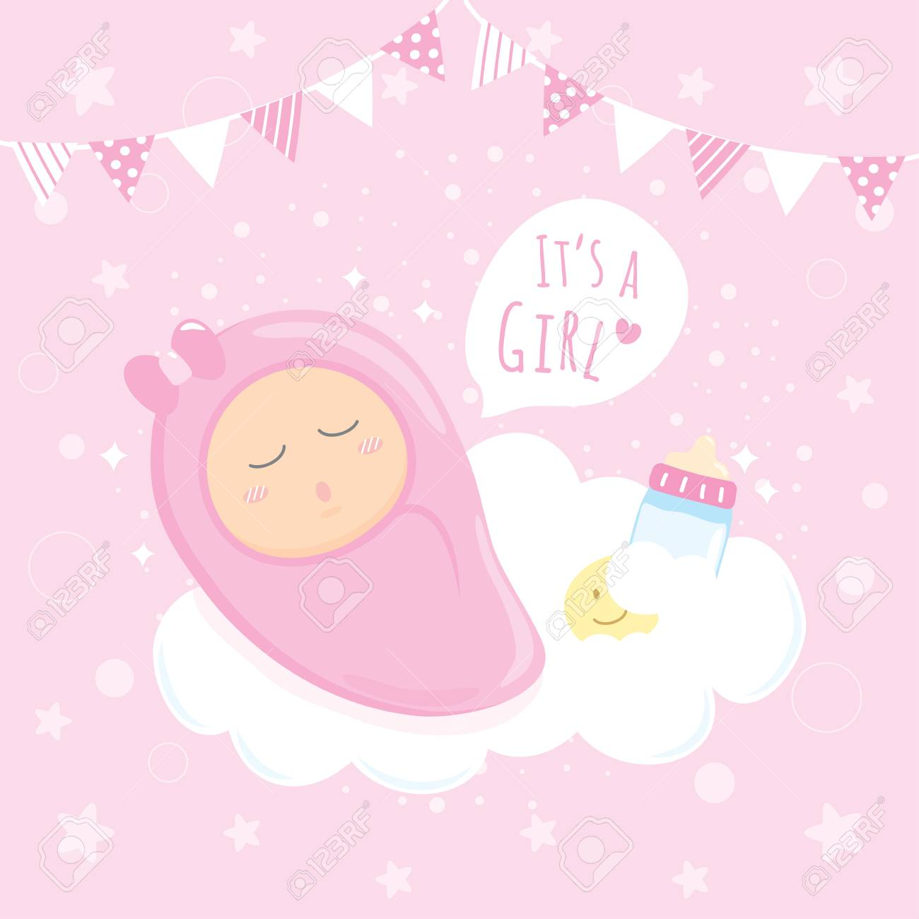Baby Girl Shower Sleeping On Clouds Happy Birthday For New Born