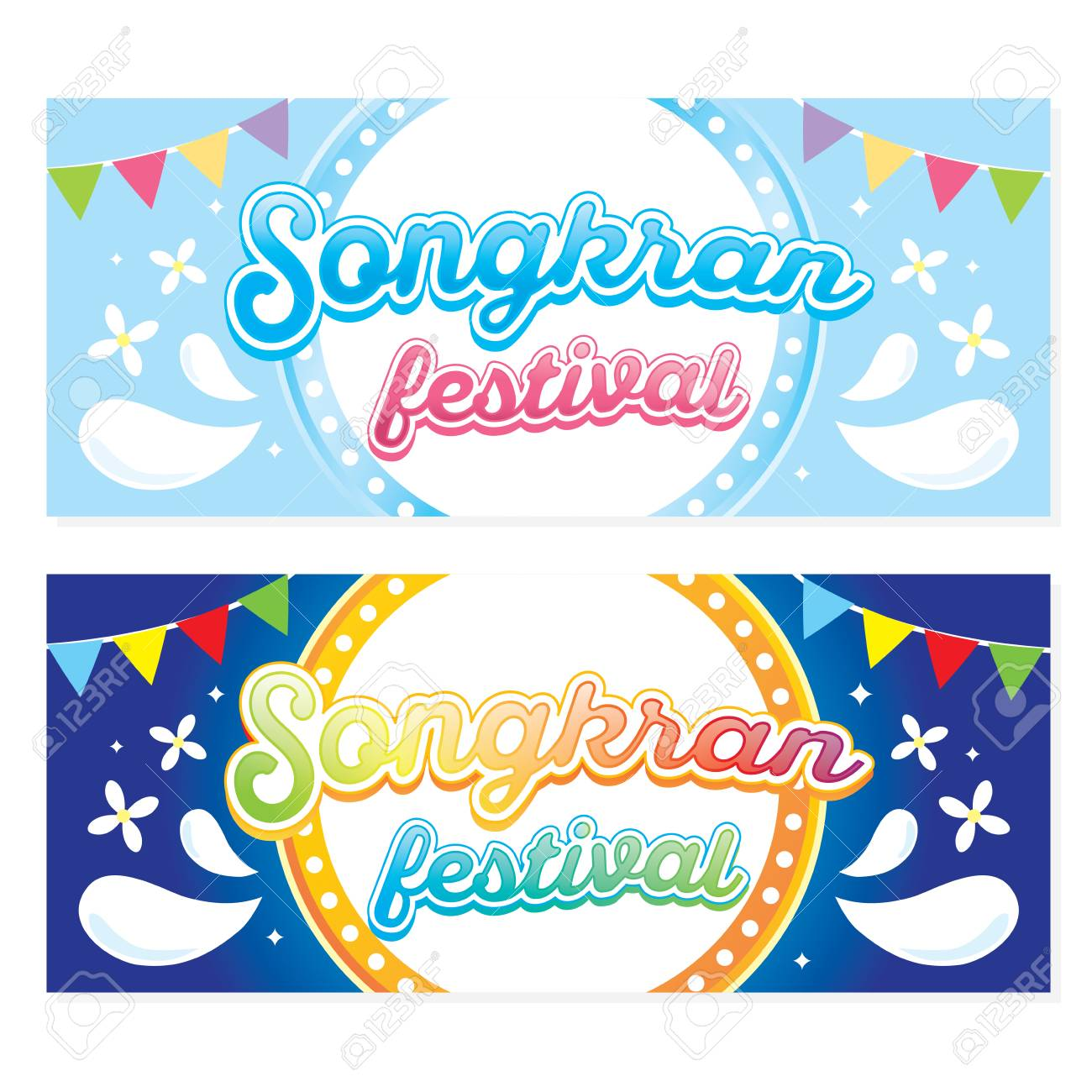 songkran festival thai new year party banner colorful for banner greeting card website stock