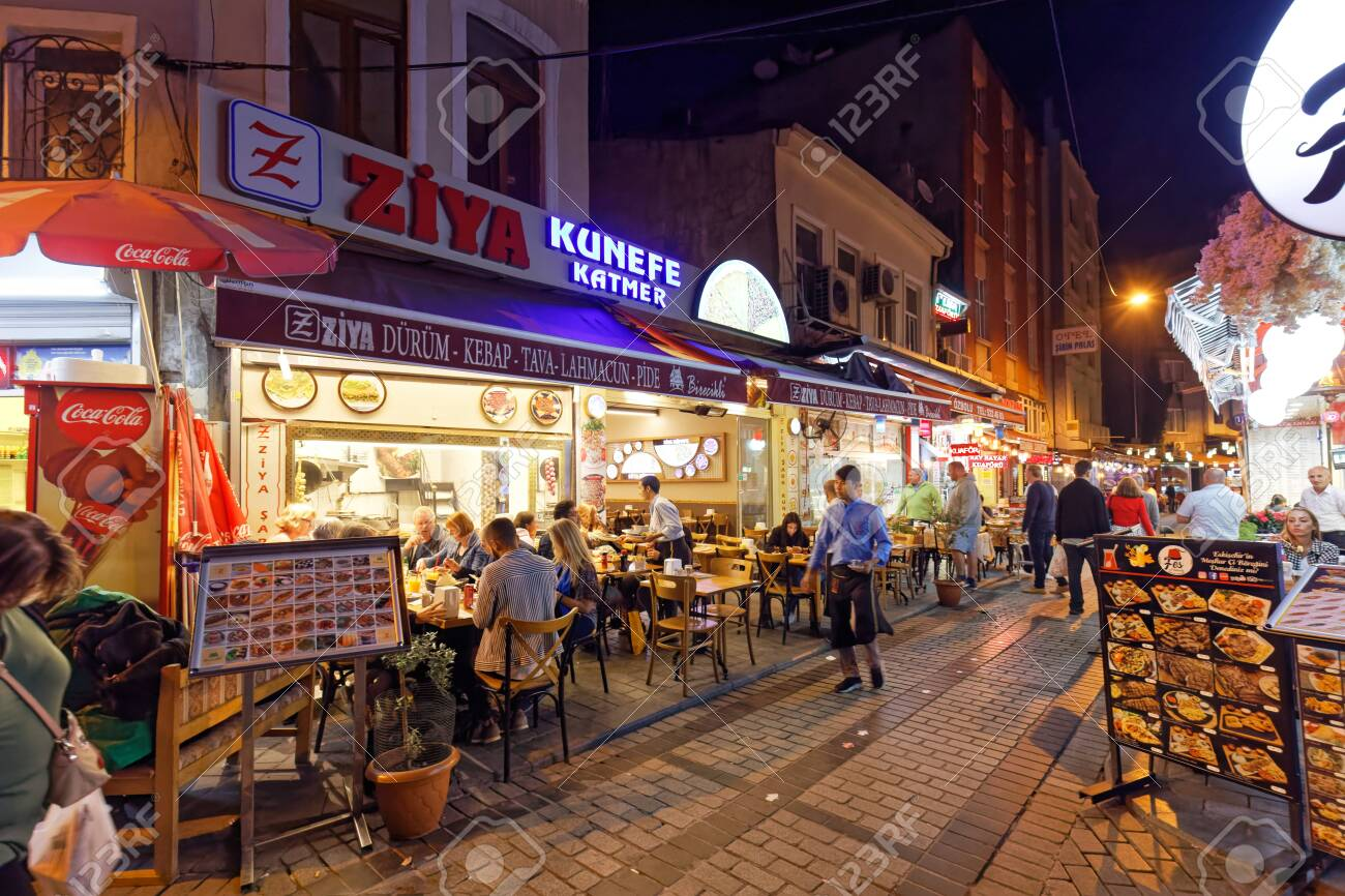 Small Street With Many Restaurants Bar And Many People In Emin N Area Stock Photo Picture And Royalty Free Image Image 141579841