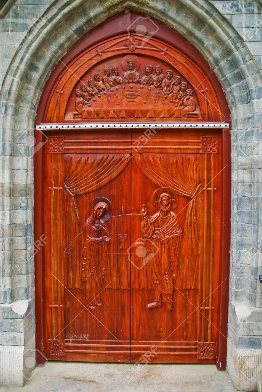 Gothic church doorway with wooden doors and intricate metal Stock Photo - 7540381 & Gothic Church Doorway With Wooden Doors And Intricate Metal Stock ... Pezcame.Com