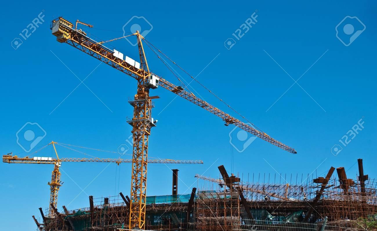 Busy construction site, crane movements Stock Photo - 7540009