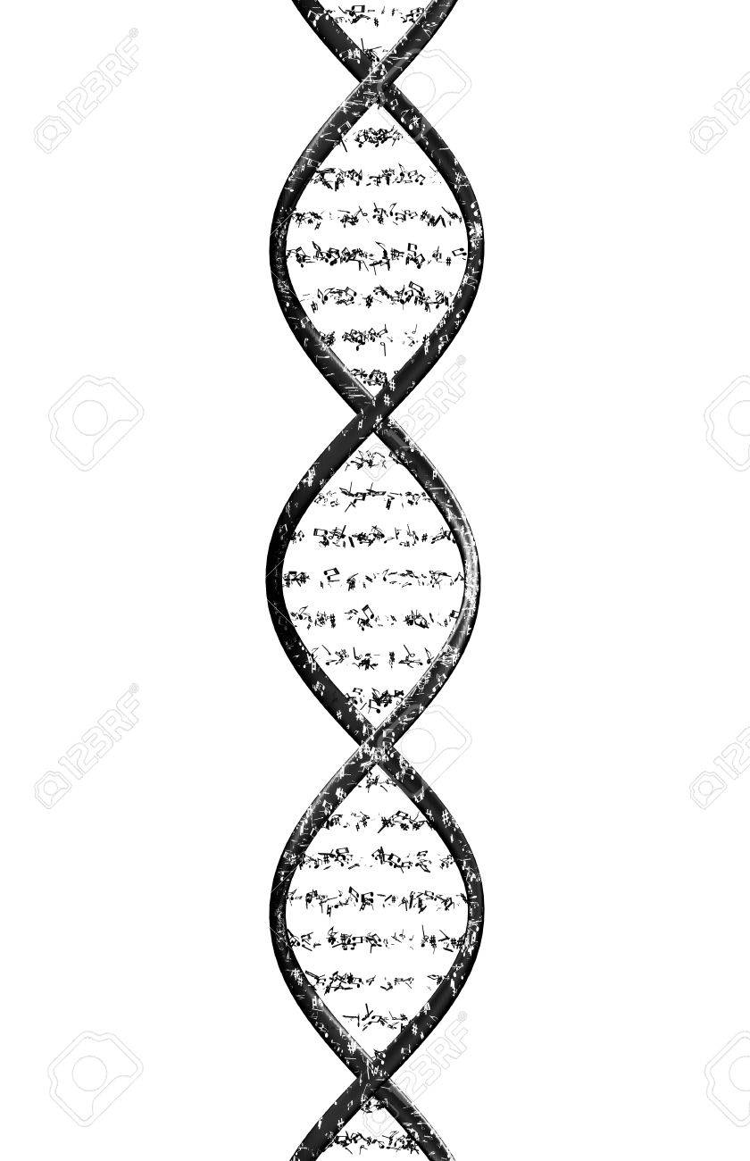 strand of dna made up of musical notes in front of a white
