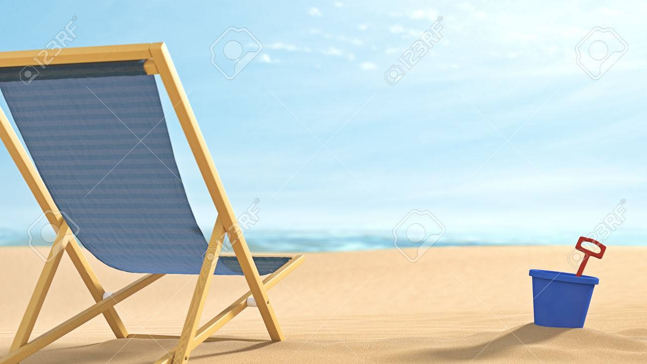 remote relaxing beach scene with comfortable folding chair pail