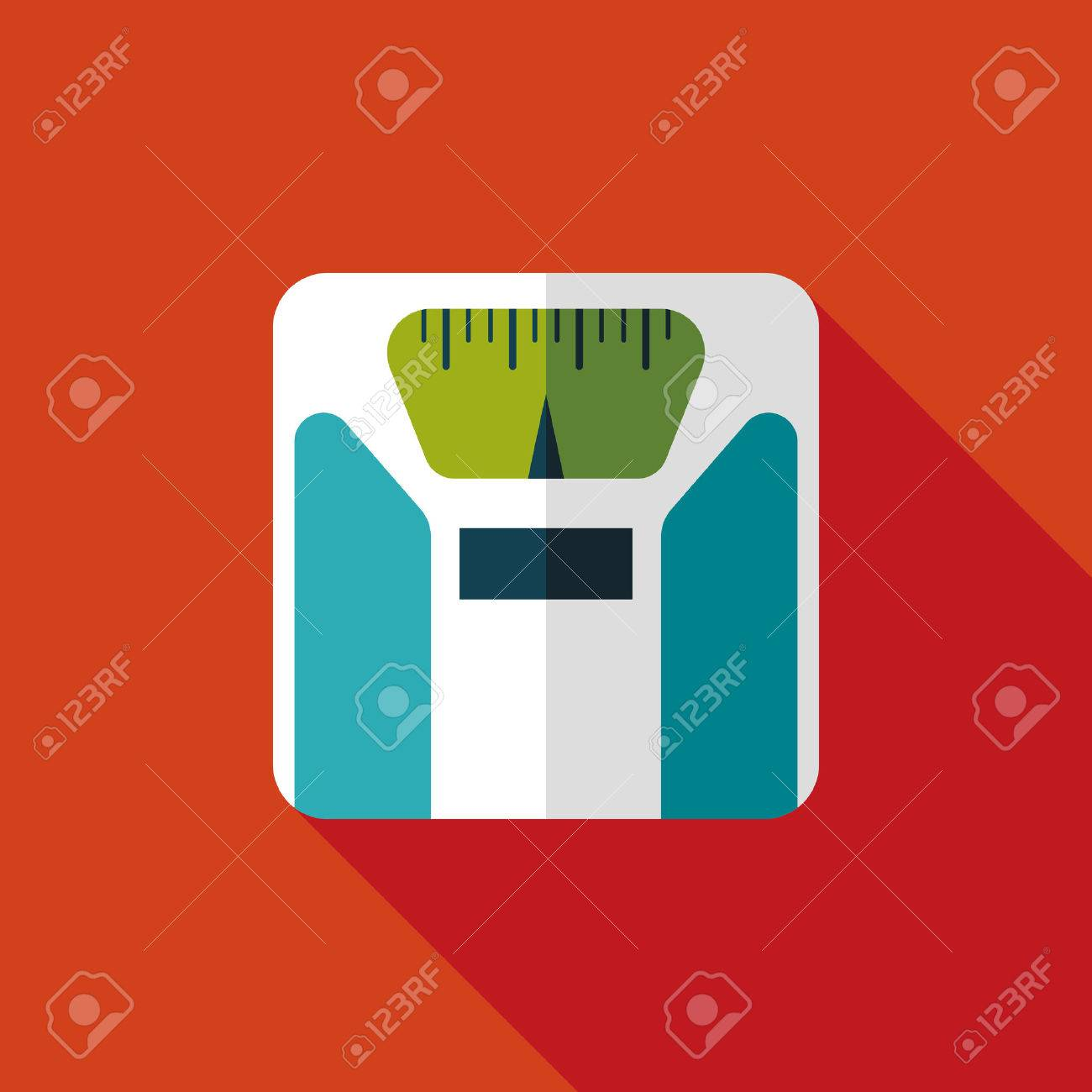 Flat style with long shadows, weight scale vector icon illustration. - 30578759