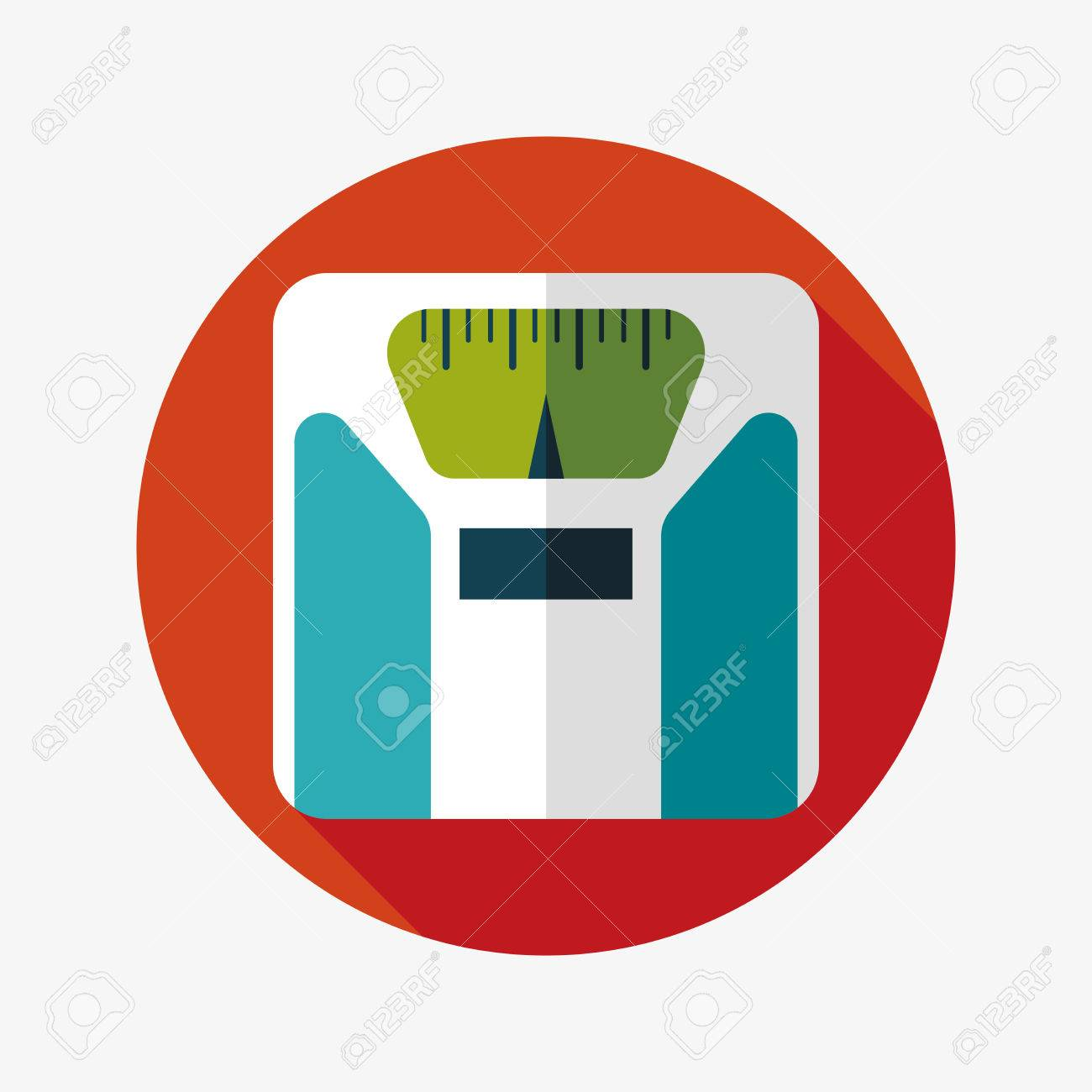 Flat style with long shadows, weight scale vector icon illustration. - 30578761