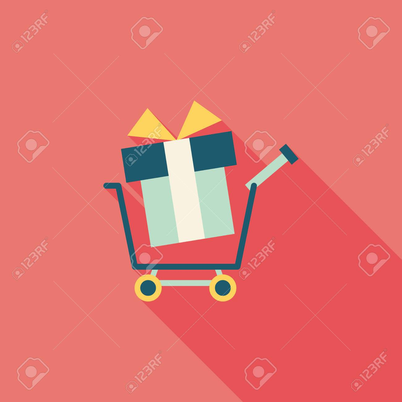 shopping cart flat icon with long shadow - 30652140