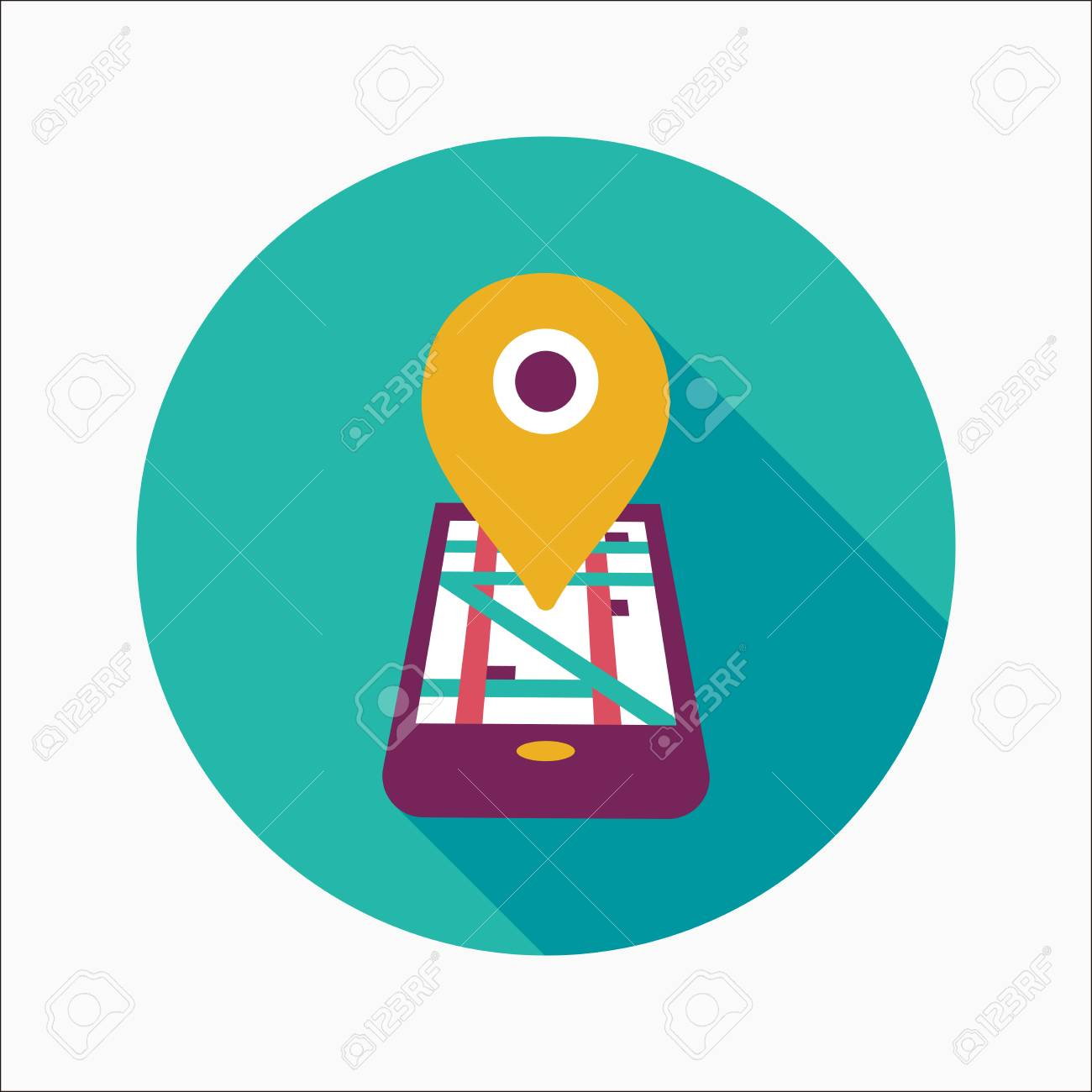 Navigation concept flat icon with long shadow - 30653130