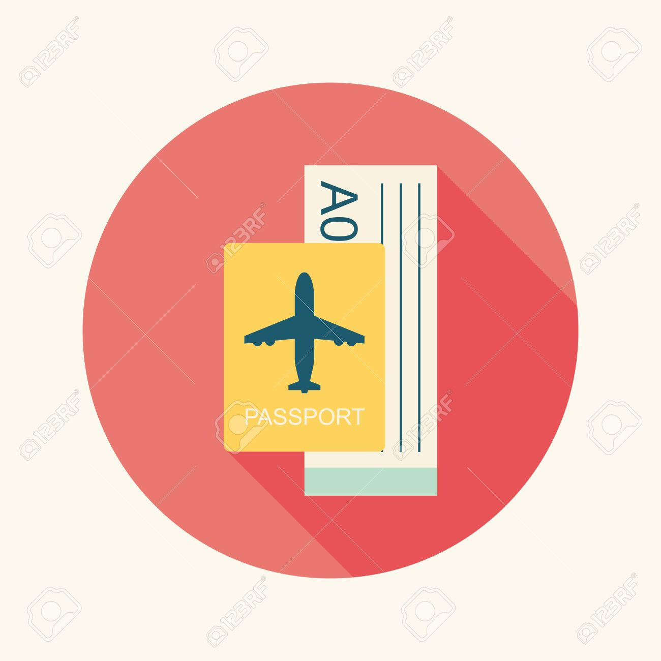 Air Ticket Flat Icon With Long Shadow Stock Vector