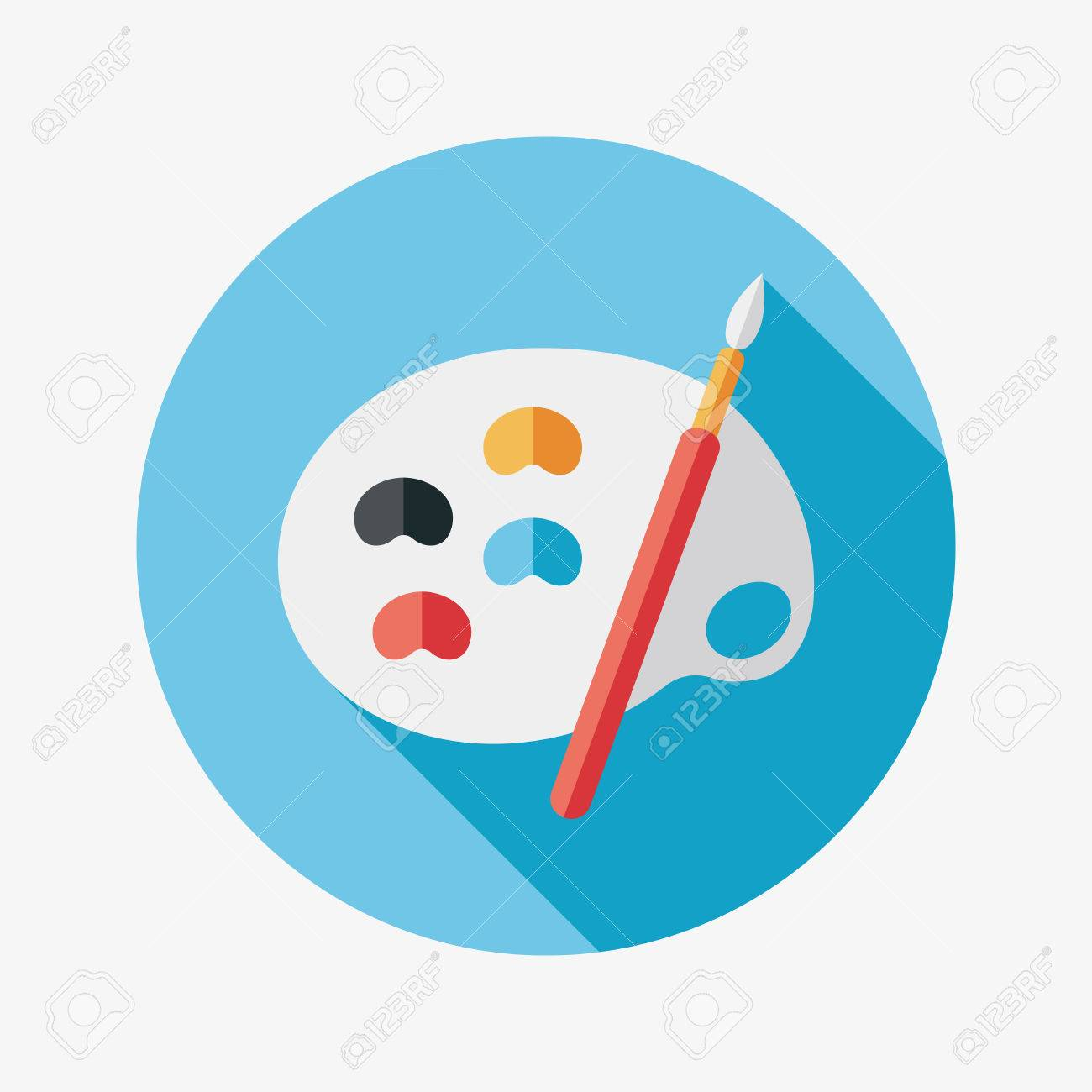 Art palette with paint brush flat icon with long shadow - 31018559