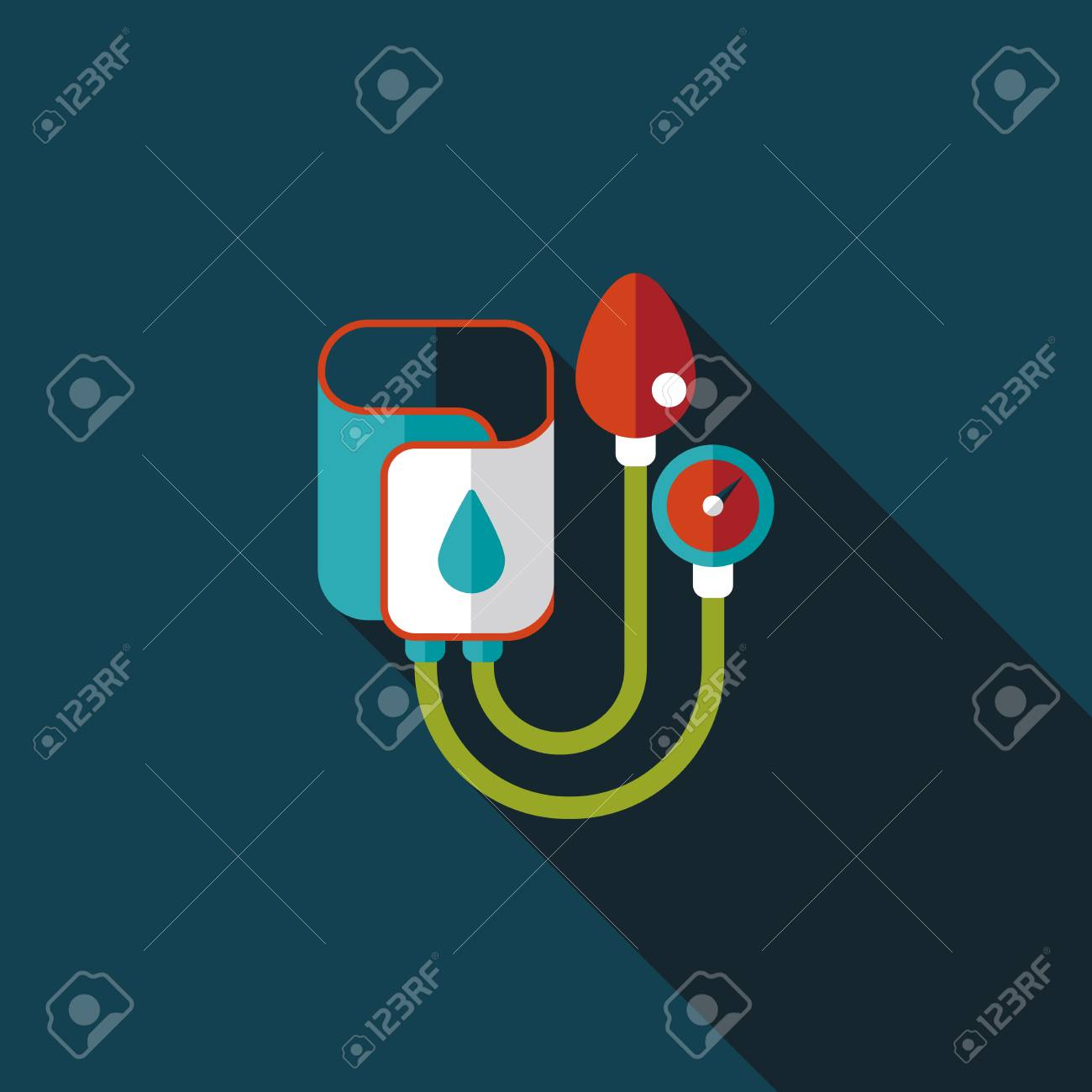 Sphygmomanometer flat icon with long shadow - 31016809