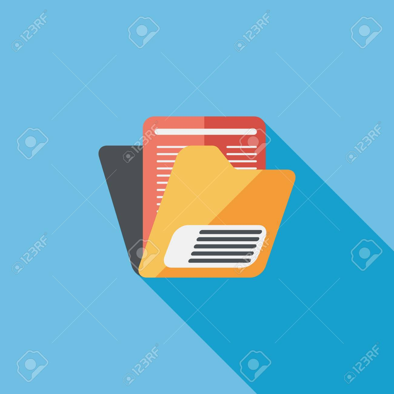 folder flat icon with long shadow - 31016120