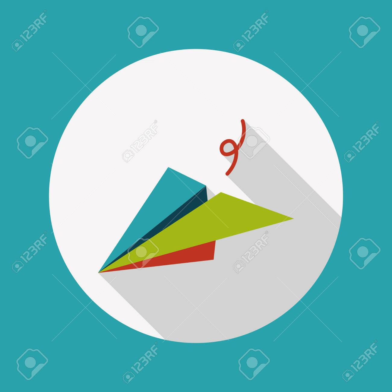 paper airplane flat icon with long shadow - 31113313
