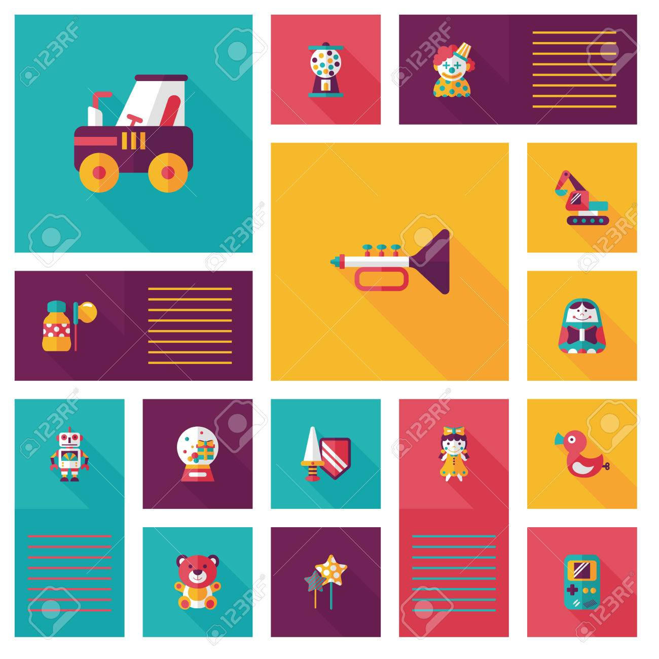 kid toys flat app ui background,eps10 - 31674630