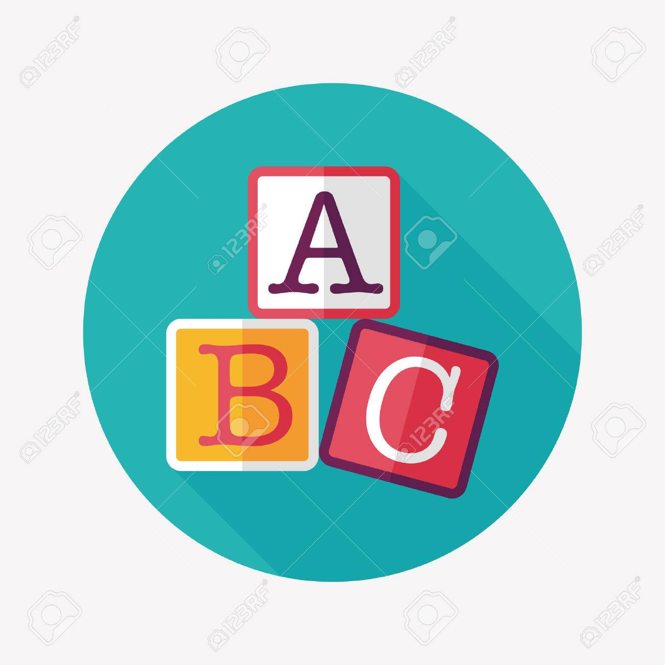 ABC blocks flat icon with long shadow,eps10 - 31675360