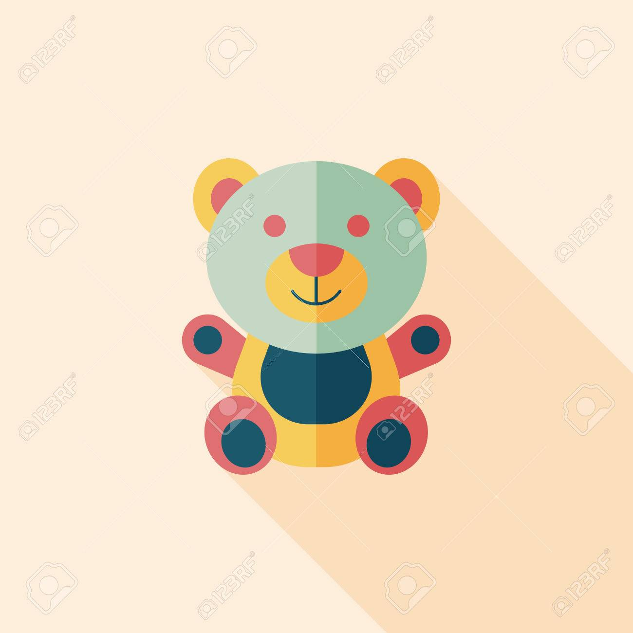 teddy bear flat icon with long shadow eps 10 royalty free cliparts